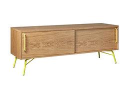 Hioshop Asine tv-meubel met 2 schuifdeuren, in eikenfineer met geel metalen onderstel.