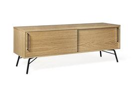 Hioshop Asine tv-meubel met 2 schuifdeuren, in eikenfineer met zwart metalen onderstel.