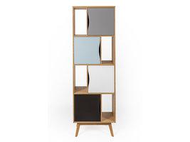 Hioshop Avine boekenkast met 4 planken en 4 deuren, in meerdere kleuren en eiken.