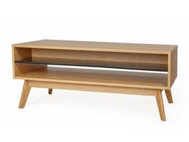 Hioshop Avine salontafel met zwarte plank, in eikenfineer/massief eiken.