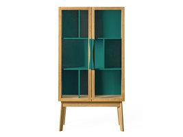 Hioshop Avine vitrinekast met 2 glazen deuren, in groen en eikenfineer/massief eiken.