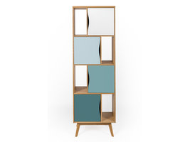 Hioshop Avine boekenkast met 4 planken en 4 deuren, in meerdere blauwtinten en eiken.