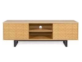 Hioshop Carmen tv-meubel met 2 planken en 2 deuren met zwarte print, in eiken fineer en massief eiken.