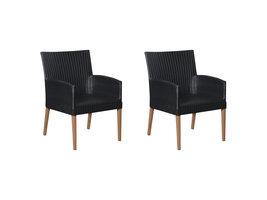 Hioshop Klic 2 x tuinstoel, stapelstoel teak/zwart.