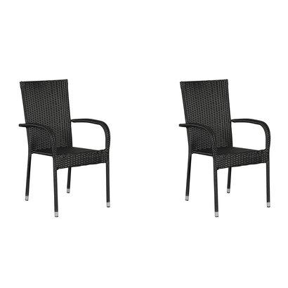 Hioshop Tanz 2 x tuinstoel, stapelstoel zwart.