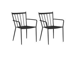 Hioshop Irma 2 x tuinstoel, stapelstoel zwart.