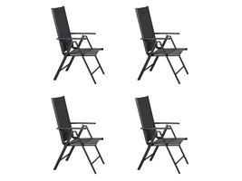 Hioshop Kelly 4 x tuinstoel, verstelbare rug, 7 posities, zwart/grijs.