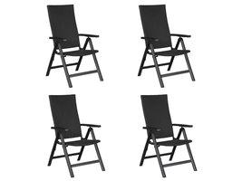 Hioshop Kars 4 x tuinstoel, verstelbare rug, 6 posities, zwart/zwart.