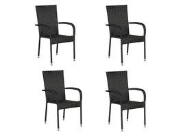 Hioshop Tanz 4 x tuinstoel, stapelstoel zwart.
