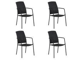 Hioshop Duol 4 x tuinstoel, stapelstoel zwart.