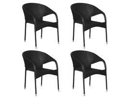 Hioshop Ole 4 x tuinstoel, stapelstoel zwart.