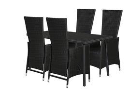 Hioshop Cassy tuinmeubelset 1 tafel met 4 stoelen.