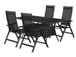 Hioshop Canny tuinmeubelset 1 tafel met 4 stoelen.