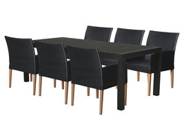 Hioshop Efour tuinmeubelset 1 tafel met 6 stoelen.