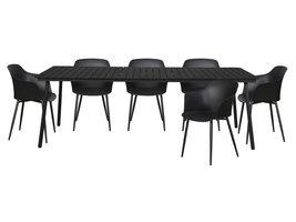 Hioshop Gell tuinmeubelset 1 tafel met 6 stoelen.