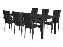 Hioshop Fuccy tuinmeubelset 1 tafel met 6 stoelen.