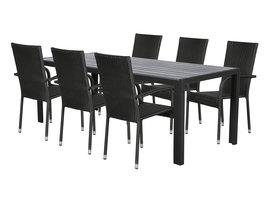 Hioshop Fall tuinmeubelset 1 tafel met 6 stoelen.