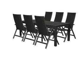 Hioshop Grup tuinmeubelset 1 tafel met 6 stoelen.