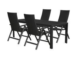 Hioshop Fuccy tuinmeubelset 1 tafel met 4 stoelen.
