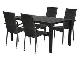 Hioshop Cult tuinmeubelset 1 tafel met 4 stoelen.