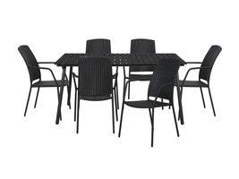 Hioshop Dris tuinmeubelset 1 tafel met 6 stoelen.