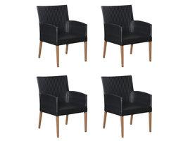 Hioshop Klic 4 x tuinstoel, stapelstoel teak/zwart.