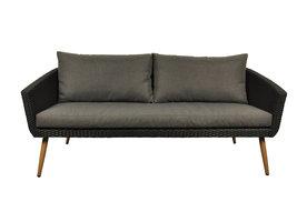 Hioshop Accon loungemeubel buitensofa, 3-persoons incl. kussen zwart/grijs.
