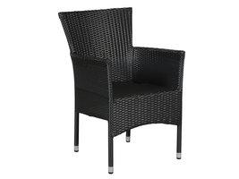Hioshop Tenna 1 x tuinstoel, stapelstoel zwart.