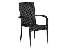 Hioshop Tanz 1 x tuinstoel, stapelstoel zwart.