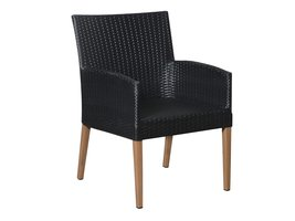 Hioshop Klic 1 x tuinstoel, stapelstoel teak/zwart.