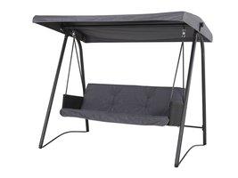 Hioshop Mines loungemeubel schommelstoel, 3-persoons zwart/grijs.