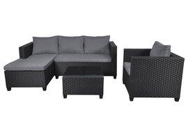 Tina loungemeubel sofaset, incl. Kussens zwart/grijs.