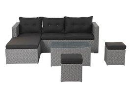 Hioshop Plessa loungemeubel sofaset, incl. Kussens grijs/zwart.