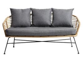 Hioshop Muka loungemeubel loungestoel incl. Kussen zwart, natuur/grijs.
