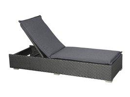 Hioshop Gida loungemeubel ligbed, incl. kussen, grijs/zwart.