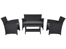 Hioshop Lissy loungemeubel sofaset, incl. Kussens zwart/grijs.