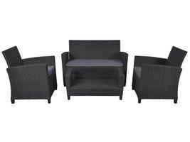 Hioshop Dissy loungemeubel sofaset, incl. Kussens zwart/grijs.