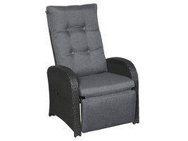 Hioshop Jorl loungemeubel tuinstoel, traploos verstelbaar en voetensteun zwart/grijs.