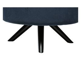 Hioshop Blur voetenbank in midnight blauw velours, zwarte poten.