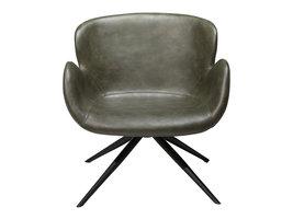 Danform Gaia loungestoel in vintage groen PU kunstleer, zwarte poten.