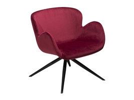 Danform Gaia loungestoel in deep ruby velours, zwarte poten.