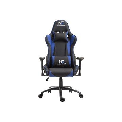Hioshop Nordic Gaming Racer gamestoel zwart en blauw.