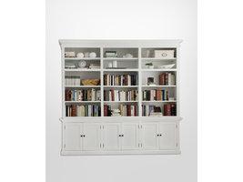 Hioshop Halifax boekenkast met planken en 6 deuren, in wit.