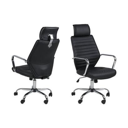 Ea bureaustoel met chromen armleuningen, zwart PU kunstleer.
