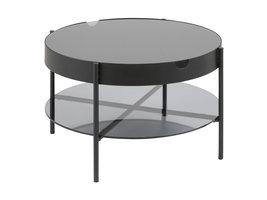 Tipon salontafel Ø75 cm met 1 plank en opbergruimte, rookkleurig glas.
