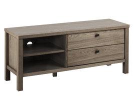 Bruce tv-meubel met 1 plank en 2 lades, in eiken.