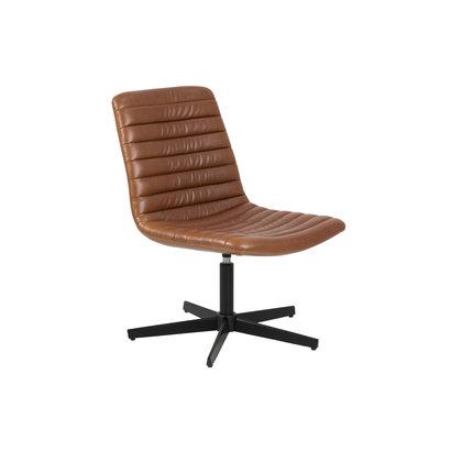 Kissa fauteuil cognac PU kunstleer, zwart.