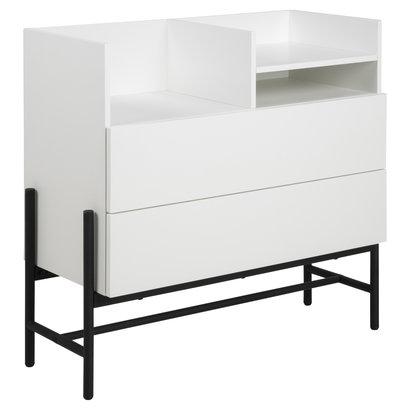 Noma kommode 1 plank en 2 lades wit, zwart.