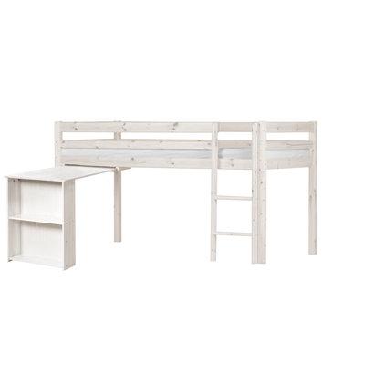 Flexa Basic Hit kinderbed Halfhoogslaper 90x200 cm met uitschuifbaar bureau, wit.