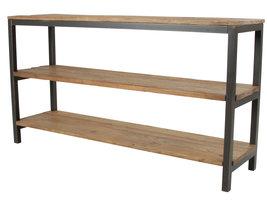 Violet wandkast 3 planken iepenhout, antiek look metaal.